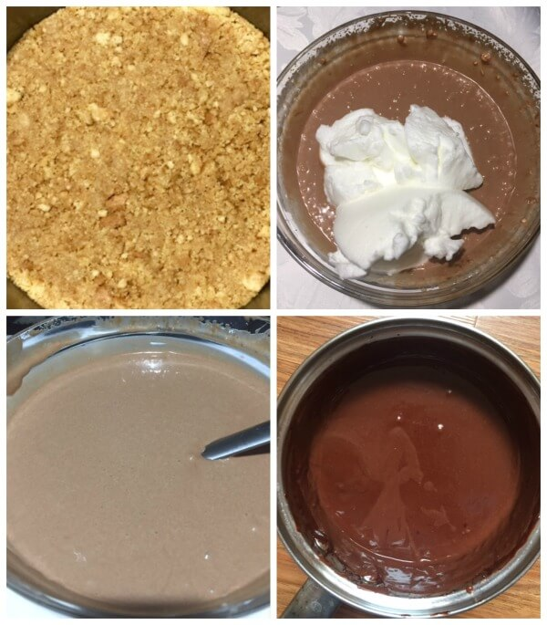 A collage of 4 photos to show step-by-step instructions how to make nutella cheesecake