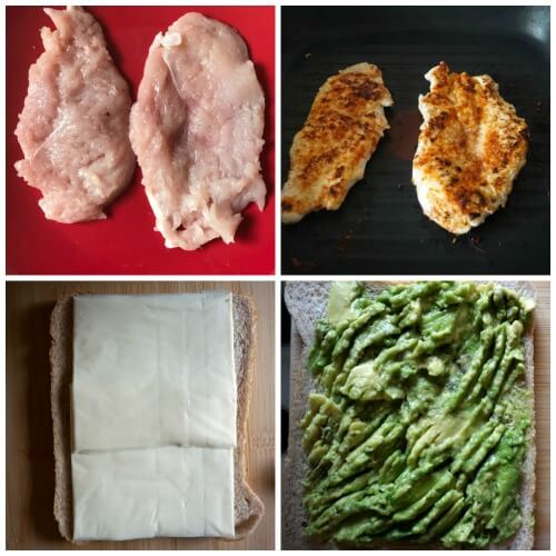 Collage of 4 photos to show how to make grilled chicken sandwich