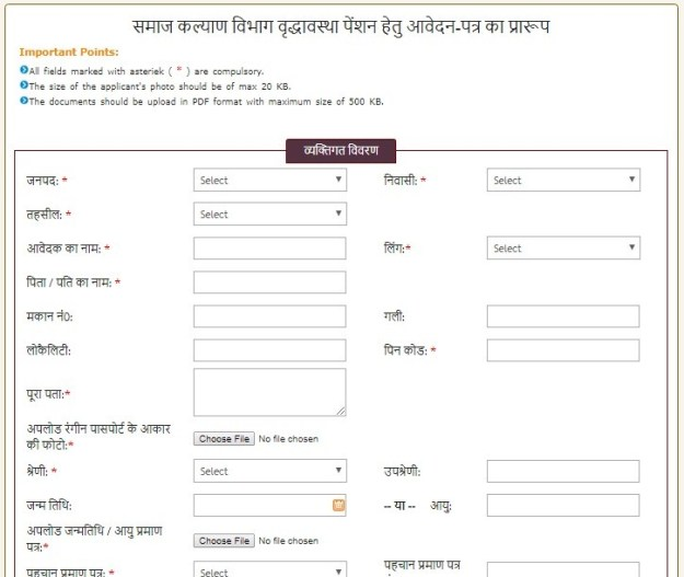 Indira Gandhi National Old Age Pension Scheme Form