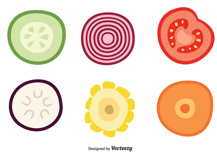 Free Vector Slice Of Vegetable Vector Icons 19975 My