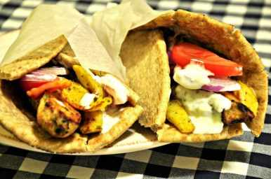 Chicken Souvlaki (Skewers) with Pita Bread