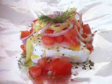 Feta Bouyiourdi (Spicy Baked Feta, Peppers, Onions and Tomatoes)