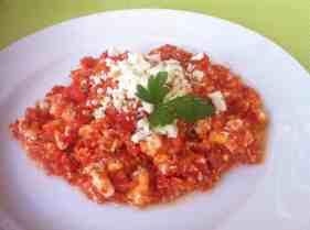 Greek Fresh Tomato and Feta Egg Scramble (Kagiana or Strapatsada)