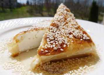 Phyllo wrapped feta cheese with honey and sesame seeds