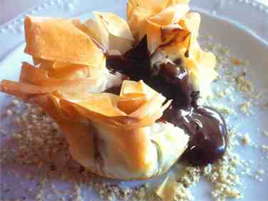 Chocolate Soufflé- Baklava Pouches!-4