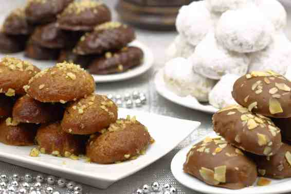 Chocolate covered Melomakarona (Greek Christmas honey cookies with chocolate)