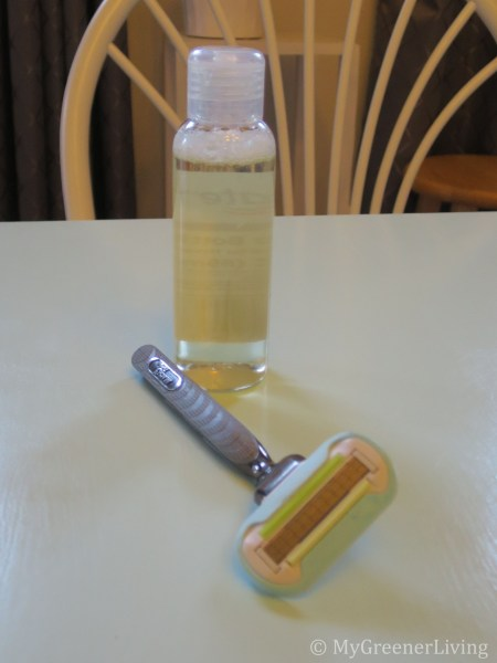 Diluted castile soap with disposable cartridge razor