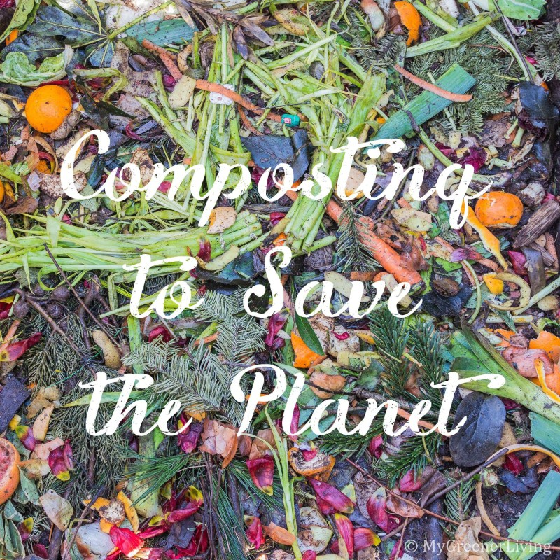 Composting to save the planet text over image of compost pile