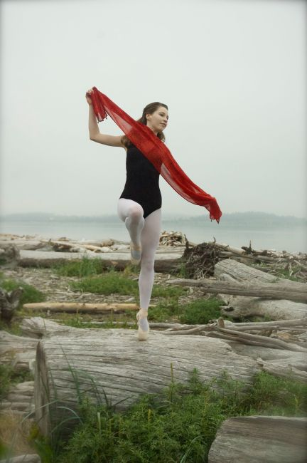 No--I don't randomly dance on logs in pointe shoes.  This is my high school senior picture from last summer!