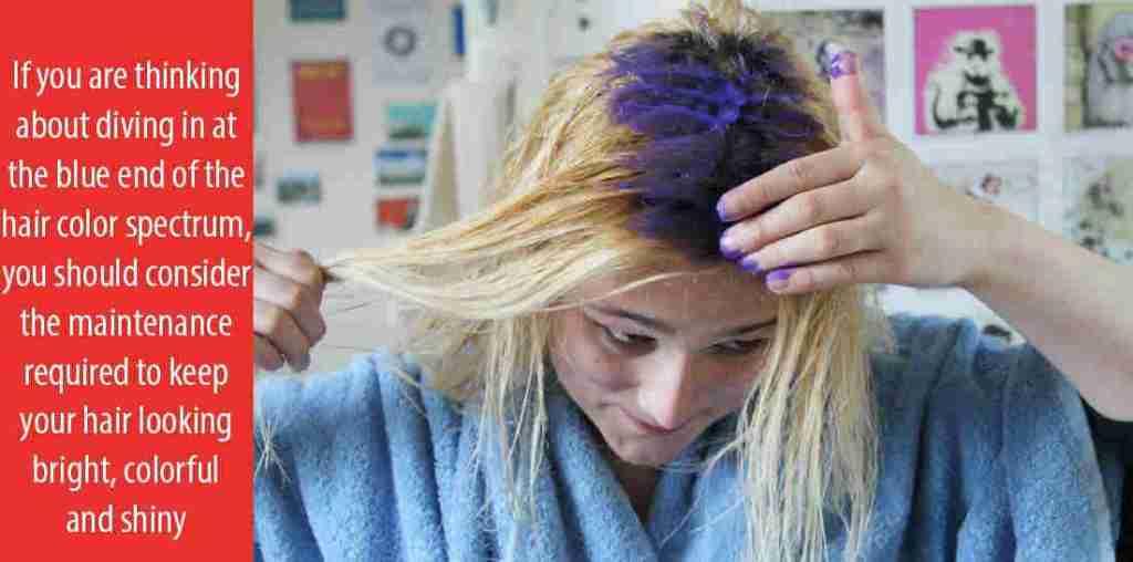 Applying blue hair dye