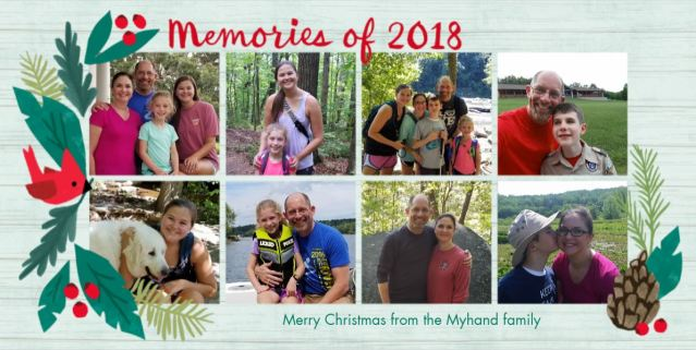 Eight pictures of the family doing various outdoor activities, like hiking, on the lake, and Boy Scouts.