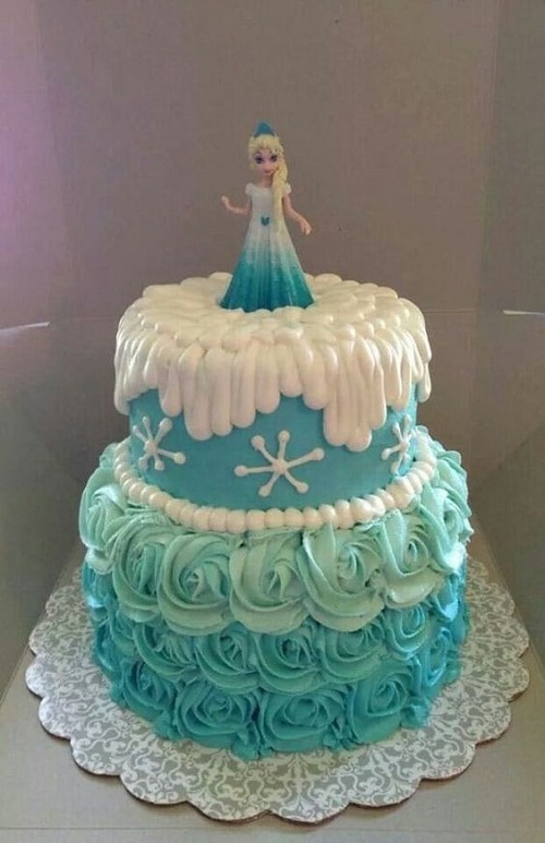 Elsa Frozen Birthday Cake with Flowers