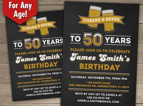 Birthday Invitations 60 Year Old Man