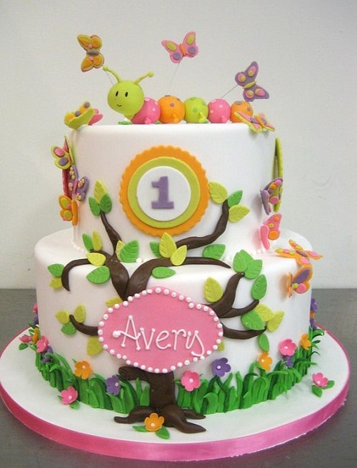 Caterpillar and Butterflies Birthday Cakes for Girls