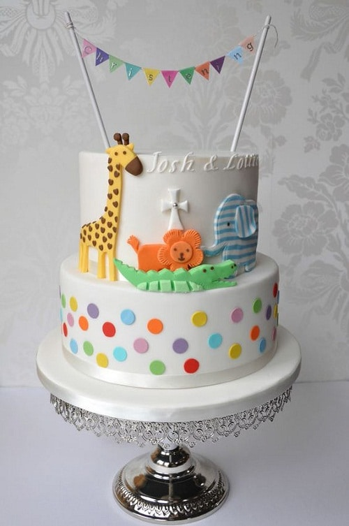 Dotted Jungle Christening Cakes for Boys