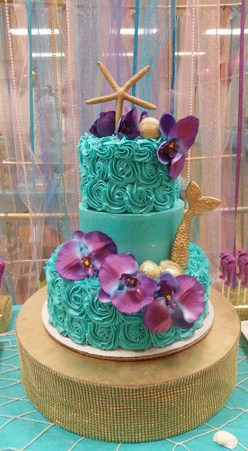 Gold Mermaid Tail with Orchids Birthday Cakes for Girls