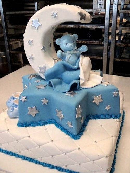 Moon and Stars Baptism Cakes for Boys