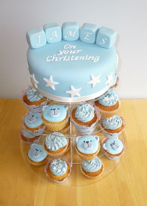 Stars and Bear Cupcakes Christening Cakes for Boys
