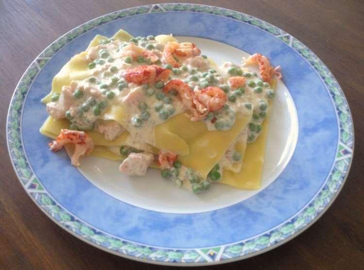 Open lasagne met zalm