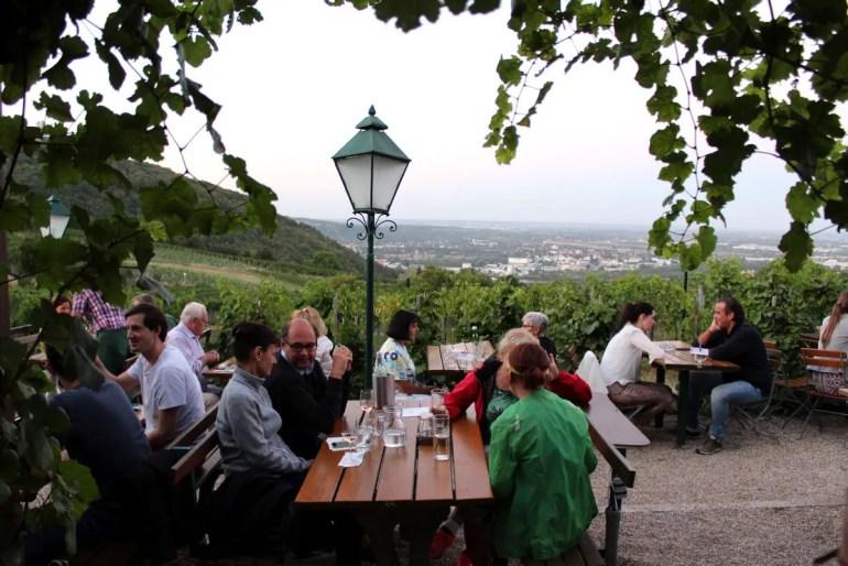 Wein mit Ausblick auf die Stadt beim Heurigen Sirbu