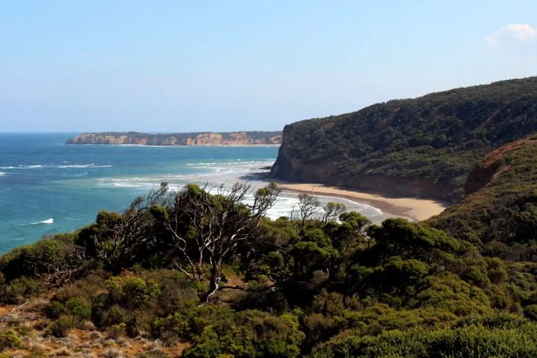 Während des Roadtrips entlang der Great Ocean Road bieten sich immer wieder spektakuläre Ausblicke auf die Küste