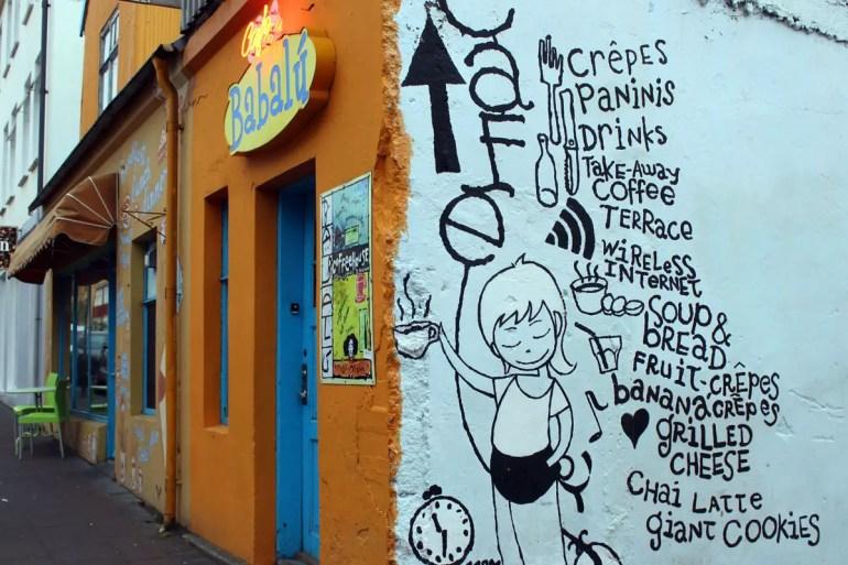 Die Karte vom Café Bablú in der Street Art-Version