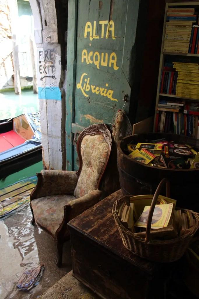 Hochwasser in der Libreria Acqua Alta