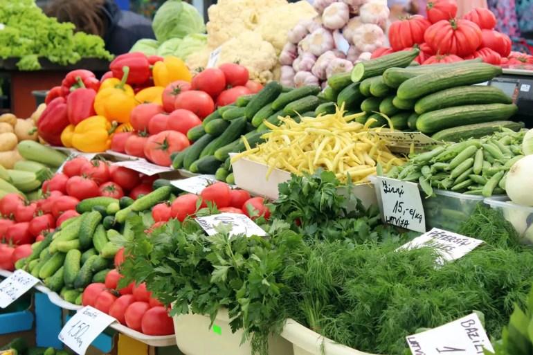 Frisches Gemüse auf dem Zentralmarkt in Riga
