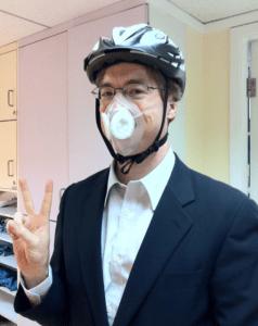 Double Protected -- Totobobo mask and bike helmet