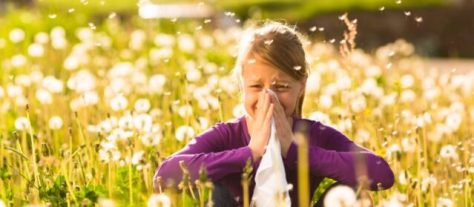 Girl sitting in a meadow with dandelions hay fever  allergic rhinitis