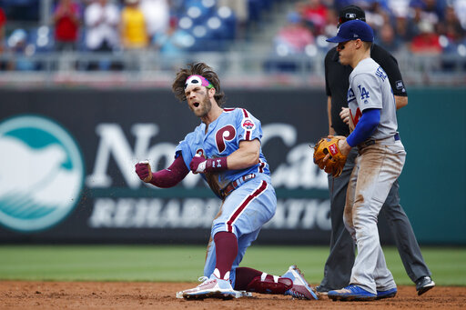 Harper Hoskins Rally Phillies Past Dodgers With 4 Run 7th