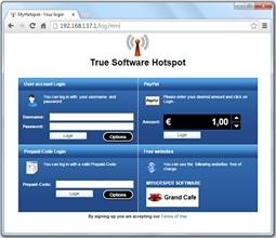 Login halaman Bila pelanggan terhubung ke jaringan Anda dan ketik alamat website, halaman login akan ditampilkan dalam browser dan diminta untuk otentikasi dengan pengguna atau kode-rekening.