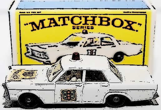 Matchbox Vintage #55C Ford Galaxie Police Car White