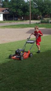 mowing the church