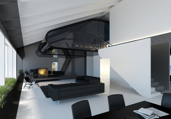 Attic Living black and white