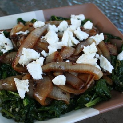 Sauteed Spinach with Caramelized Onions and Robiola Goat Cheese