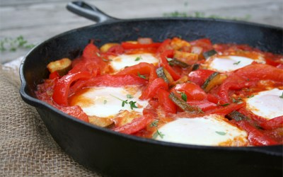 A Summer Skillet Meal: Red Peppers, Zucchini, and Eggs
