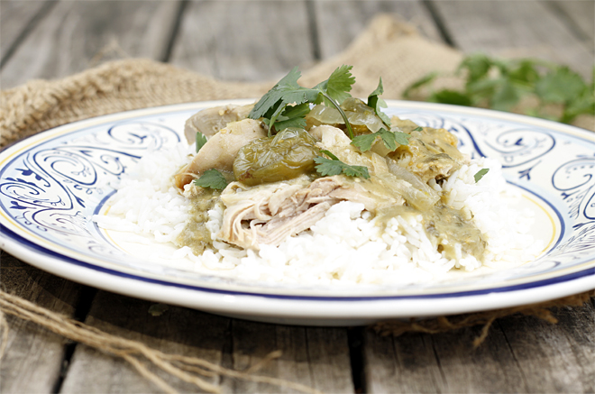 A Simple Weekday Meal: Slow Cooked Chicken in a Tomatillo Salsa Verde