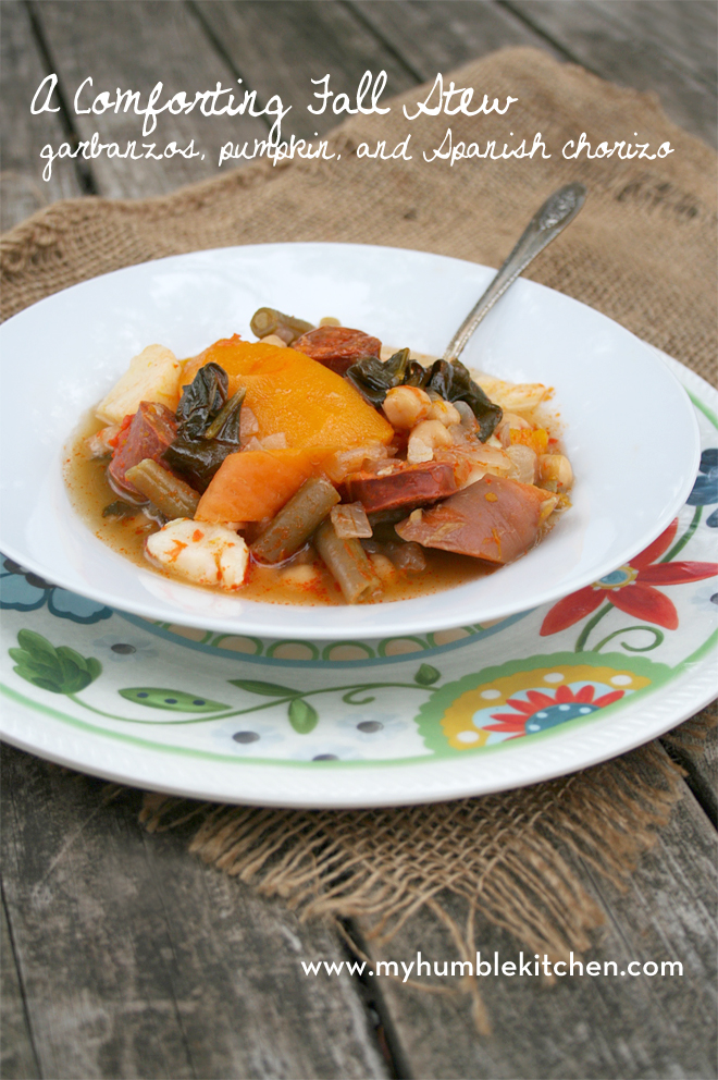 A Comforting Fall Stew: Garbanzos, Pumpkin, and Spanish Chorizo Sausage   myhumblekitchen.com