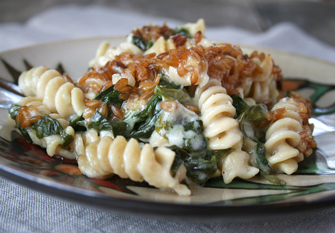 Einkorn Pasta, Spinach Mac and Cheese with Toasted Einkorn Wheat Berries