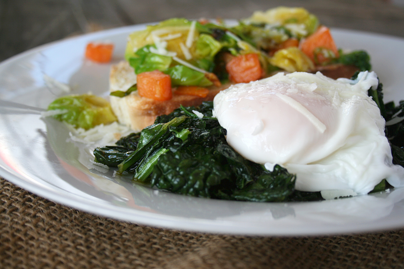 Sweet Potato & Brussels Sprouts Tartine Served with Garlic Kale and Topped with a Poached Egg