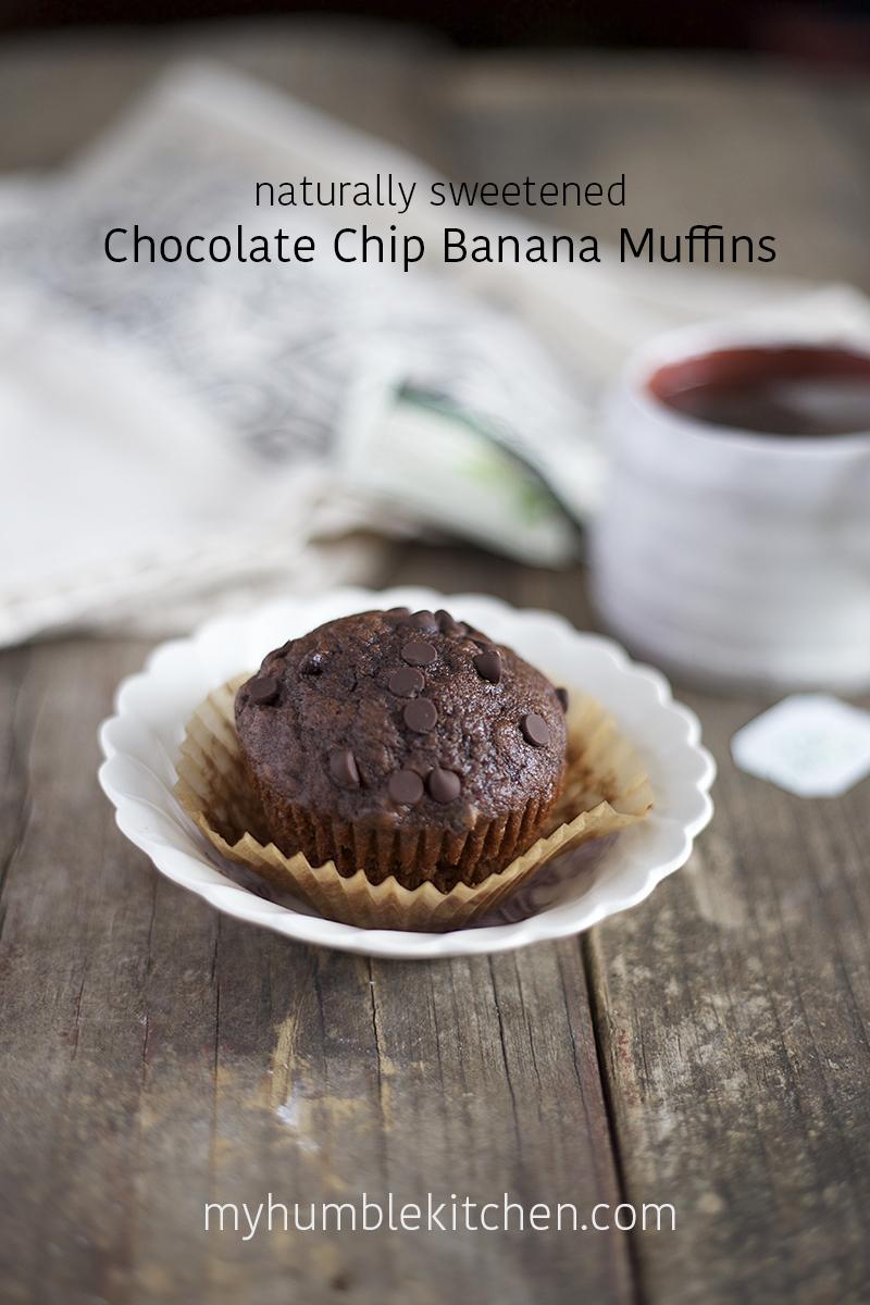 Naturally Sweetened Chocolate Chip Banana Muffins | myhumblekitchen.com