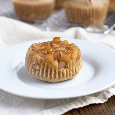 Upside-Down Einkorn Apple Muffins