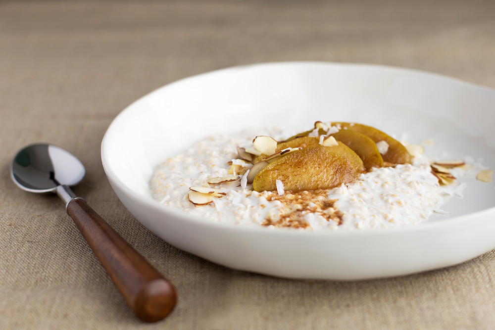 Overnight Kefir Muesli Topped with Stewed Apples