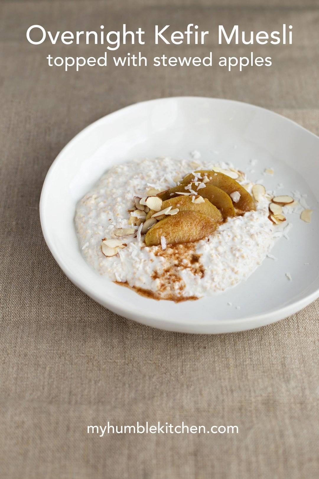 Overnight Kefir Muesli Topped with Stewed Apples | myhumblekitchen.com