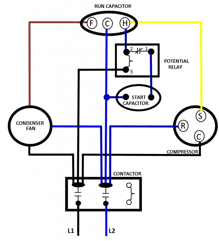 AC BASIC WIRING 927x1024 run capacitor wiring diagram efcaviation com potential relay start capacitor wiring diagram at mifinder.co