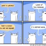 cat comic woken up