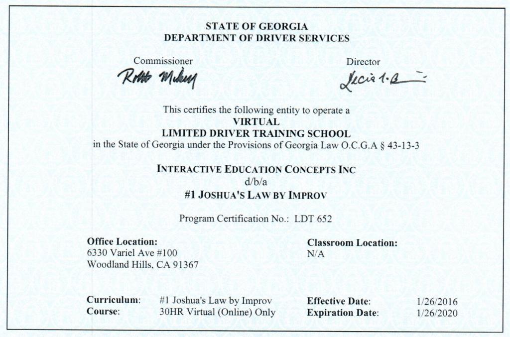 Georgia Drivers Ed Online Joshua S Law Georgia Improv