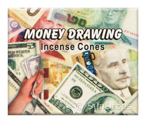 Money drawing incense cones