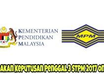 Semakan Keputusan Peperiksaan Penggal 3 STPM 2017 Online